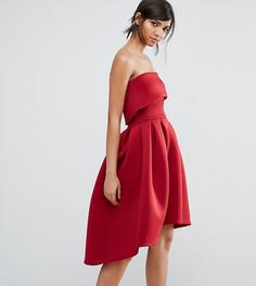 Приталенное платье-бандо миди True Violet - Красный