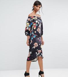 Облегающее платье с пышными рукавами на манжетах и оборкой True Violet - Мульти