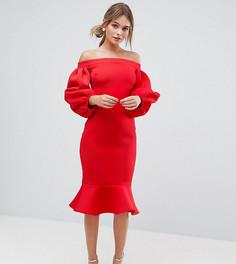 Облегающее платье с рукавами-баллон True Violet - Красный