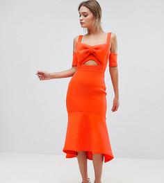 Платье миди с бантом и оборкой по нижнему краю True Violet - Оранжевый