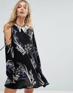 Платье с открытыми плечами и принтом Free People Clear Skies - Черный