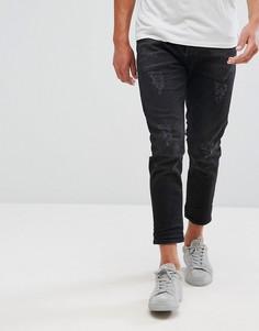 Укороченные зауженные джинсы с рваной отделкой Selected Homme - Черный