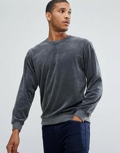 Свитшот из велюрового трикотажа Selected Homme - Серый