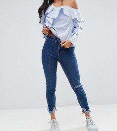 Джинсы скинни с разрезами на коленках New Look Petite - Синий