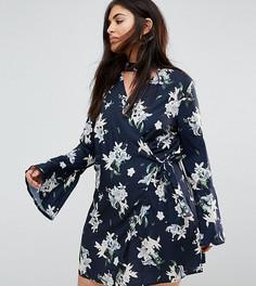 Платье с расклешенными рукавами и цветочным принтом Missguided Plus - Темно-синий