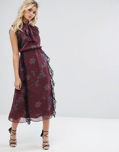 Платье миди из жатого шифона с принтом и завязкой Stevie May - Мульти