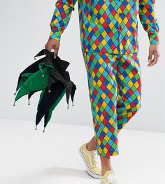 Свободные брюки с принтом в клетку Reclaimed Vintage HALLOWEEN Inspired - Синий