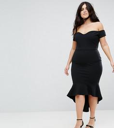 Платье миди с оборками и открытыми плечами John Zack Plus - Черный