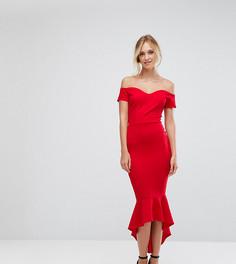 Платье миди с открытыми плечами John Zack Tall - Красный