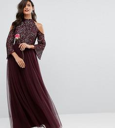 Платье макси с пайетками и юбкой из тюля Maya - Красный