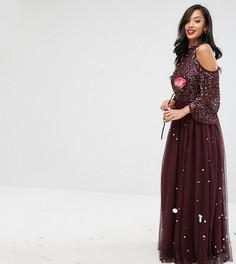 Платье макси с пайетками и юбкой из тюля Maya Petite - Красный