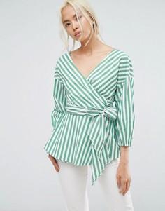 Блузка в полоску с запахом и поясом Gestuz - Зеленый