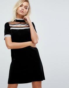 Платье с оборками и высоким воротом Fashion Union - Черный