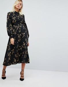 Платье миди с высоким воротом и цветочным принтом в стиле гранж Fashion Union - Черный