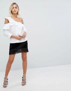 Мини-юбка с отделкой бахромой Fashion Union - Черный