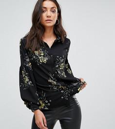 Рубашка с пышными рукавами и ярким цветочным принтом Fashion Union Tall - Черный