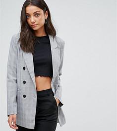 Двубортный блейзер в клетку Fashion Union Tall - Серый