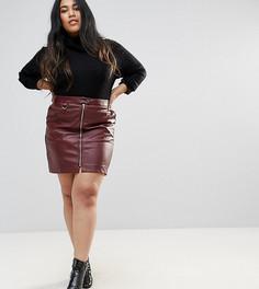 Мини-юбка из искусственной кожи с молниями Fashion Union Plus - Красный