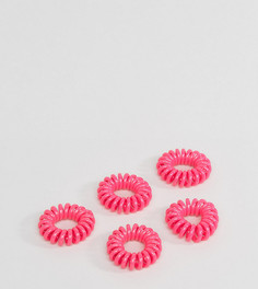 Набор из 5 разноцветных резинок-спиралек для волос ASOS - Розовый