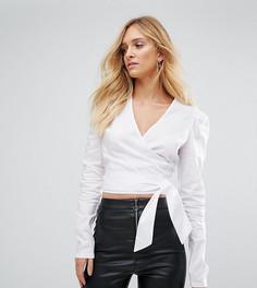Блузка с подплечниками и запахом Missguided Tall - Белый