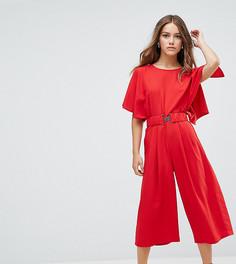 Чайный комбинезон с эластичным поясом ASOS PETITE - Красный