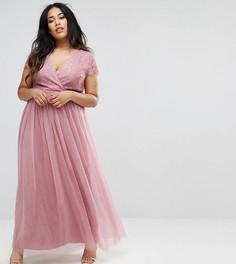 Платье макси с кружевным лифом Little Mistress Plus - Мульти