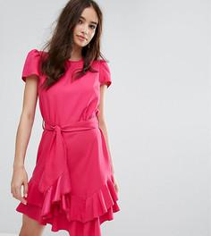 Платье с поясом и оборками Miss Selfridge - Розовый