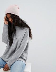 Кашемировая шапка-бини Selected - Розовый