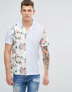 Рубашка в полоску с цветочными вставками Jaded London - Белый