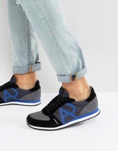Черные беговые кроссовки с логотипом Armani Jeans - Черный