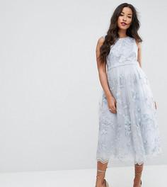Кружевное платье миди с 3D-цветами Chi Chi London Maternity - Серый