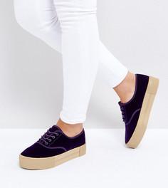 Бархатные кроссовки на платформе эксклюзивно для Monki - Фиолетовый