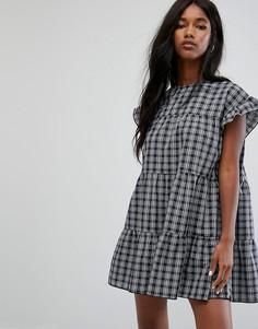 Свободное платье мини в клетку PrettyLittleThing - Темно-синий