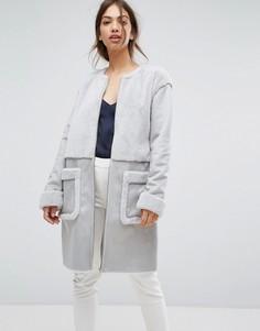 Пальто из искусственной овчины с карманами Vila - Серый