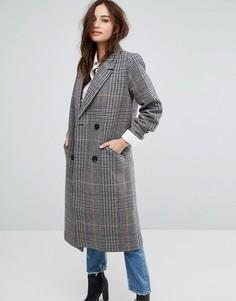 Двубортное пальто в клетку Vila - Серый