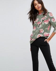 Блузка с высоким воротом и принтом роз JDY - Зеленый