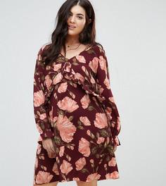 Свободное платье с цветочным принтом, оборками и завязками Junarose - Мульти