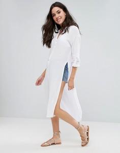 Длинное пляжное платье-рубашка New Look - Белый