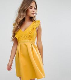 Платье мини для выпускного с кружевным топом и оборками Little Mistress Petite - Желтый