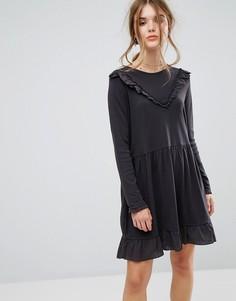 Трикотажное платье мини с оборками Leon and Harper - Черный