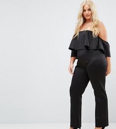 Комбинезон с широкими штанинами и открытыми плечами Club L Plus - Черный