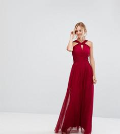 Платье макси из тюля с перекрученной отделкой Little Mistress Tall - Красный