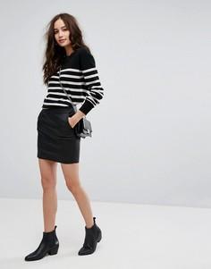 Виниловая мини-юбка Only - Черный