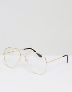 Очки-авиаторы с прозрачными стеклами Reclaimed Vintage Inspired - Золотой