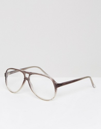 Коричневые очки-авиаторы с прозрачными стеклами Reclaimed Vintage Inspired - Коричневый