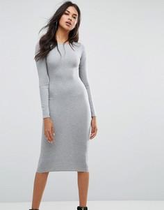 Платье миди с длинными рукавами Boohoo - Серый