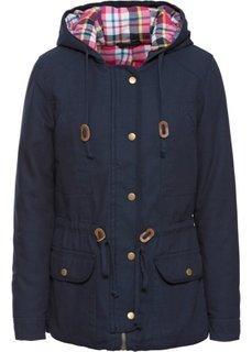 Зимняя куртка с клетчатой подкладкой (темно-синий) Bonprix