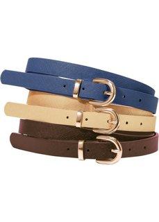Кожаный ремень (золотистый/коричневый/синий) Bonprix