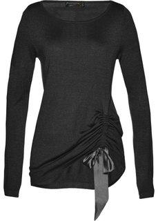 Пуловер с драпировкой (черный) Bonprix