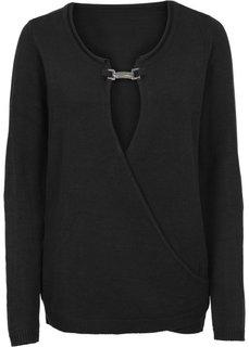 Пуловер с аппликацией (черный) Bonprix